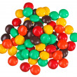 Multicolor bonbon sweets (ball candies) heap, isolated on white — Stock Photo