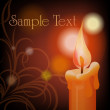 Burning candle on dark background — Stock Vector