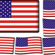 American Flag Set - Stock Vector