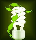 Eco design with energy-saving bulb. Vector. — Stock Vector