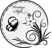Decorative oval frame with flower and butterfly — Stock Vector