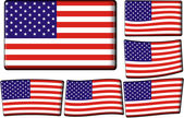 American Flag Set — Vettoriale Stock