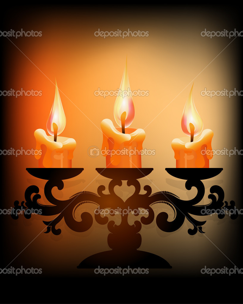 Three burning candles on dark background — Stock Vector #8856026
