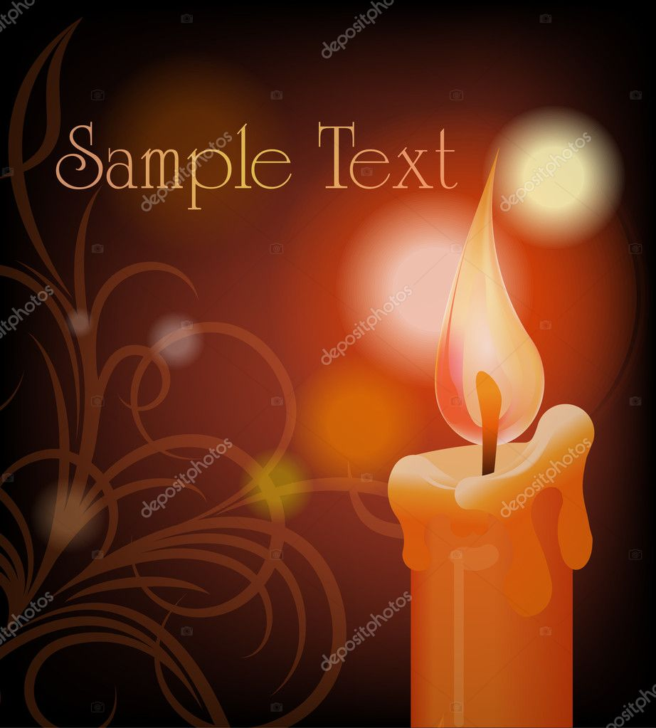 Burning candle on dark background  Stok Vektr #8856084