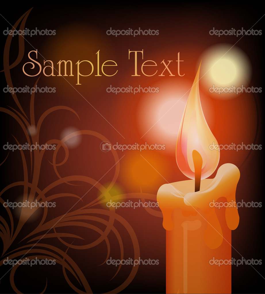 Burning candle on dark background — Stock vektor #8856084