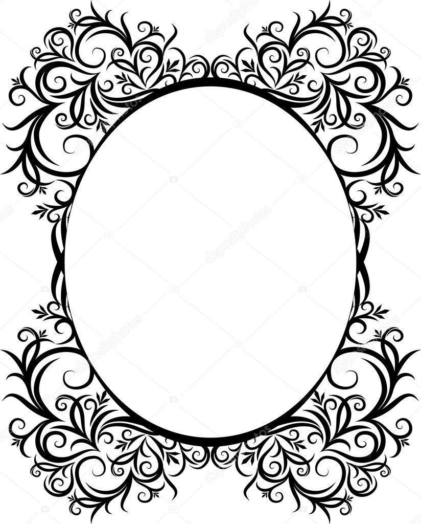 Elegant oval frame  Vintage Oval Frame Drawings