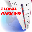 Eco design — global warming with globe and thermometer — Stock Vector