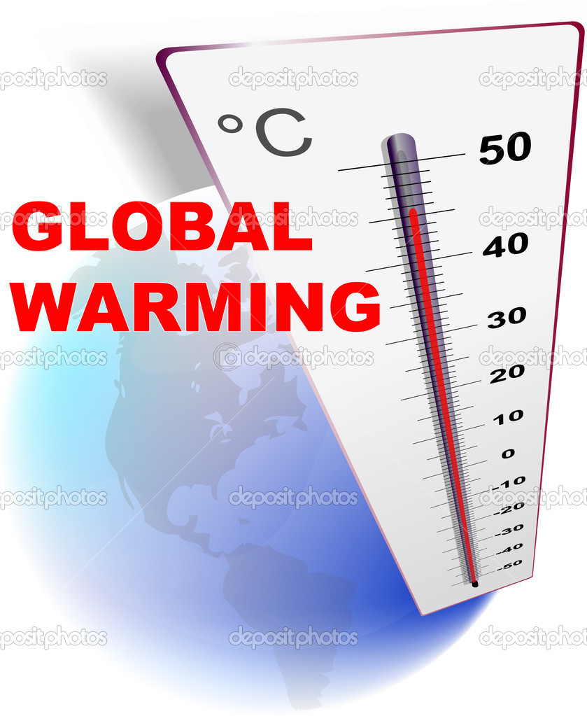 Eco design  global warming with globe and thermometer  Stock Vector #8864530