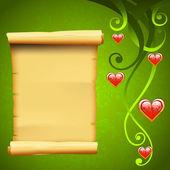 Pergamino en blanco rollo papel y decoración elementos, amor vector backgroun — Vector de stock