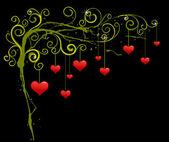Resumen de antecedentes con los corazones rojos. diseño gráfico de amor — Vector de stock