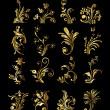 Floral Ornament Set of Vintage Golden Decoration Elements - Stock Vector