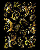 Floral Ornament Set of Vintage Golden Decoration Elements — Stock Vector