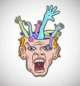 Crazy man face artistic vector illustration — Stock Vector