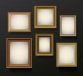 Foto frames instellen op de muur — Stockvector
