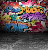Graffiti wall urban street art painting — Stock Vector