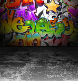 Graffiti wall urban street art painting — Stock Vector