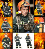 The fireman in regimentals against fire — Stock Photo