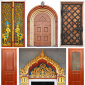 Set of church and wooden entrance doors — Stockfoto