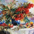 Still-life with a mountain ash and apples — Stockfoto