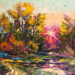 Oil Painting - Autumn decline — Stock Photo