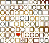 83 picture gold frames with a decorative pattern — Stock Photo