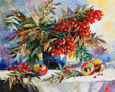 Still-life with a mountain ash and apples — Foto de Stock