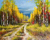 Oil Painting - gold autumn — Stock Photo