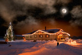The house in village in Christmas night — Stockfoto