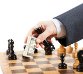 Businessman unfair playing chess game — Stock Photo
