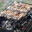 Meat kebab food grilled on barbecue — Stock Photo