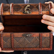 Hand holding treasure chest — Stock Photo