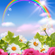 Stock Photo: Rainbow and flowers