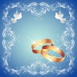 Stockvektor : Wedding rings and two doves