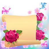 Rolled parchment and roses — Stock Vector