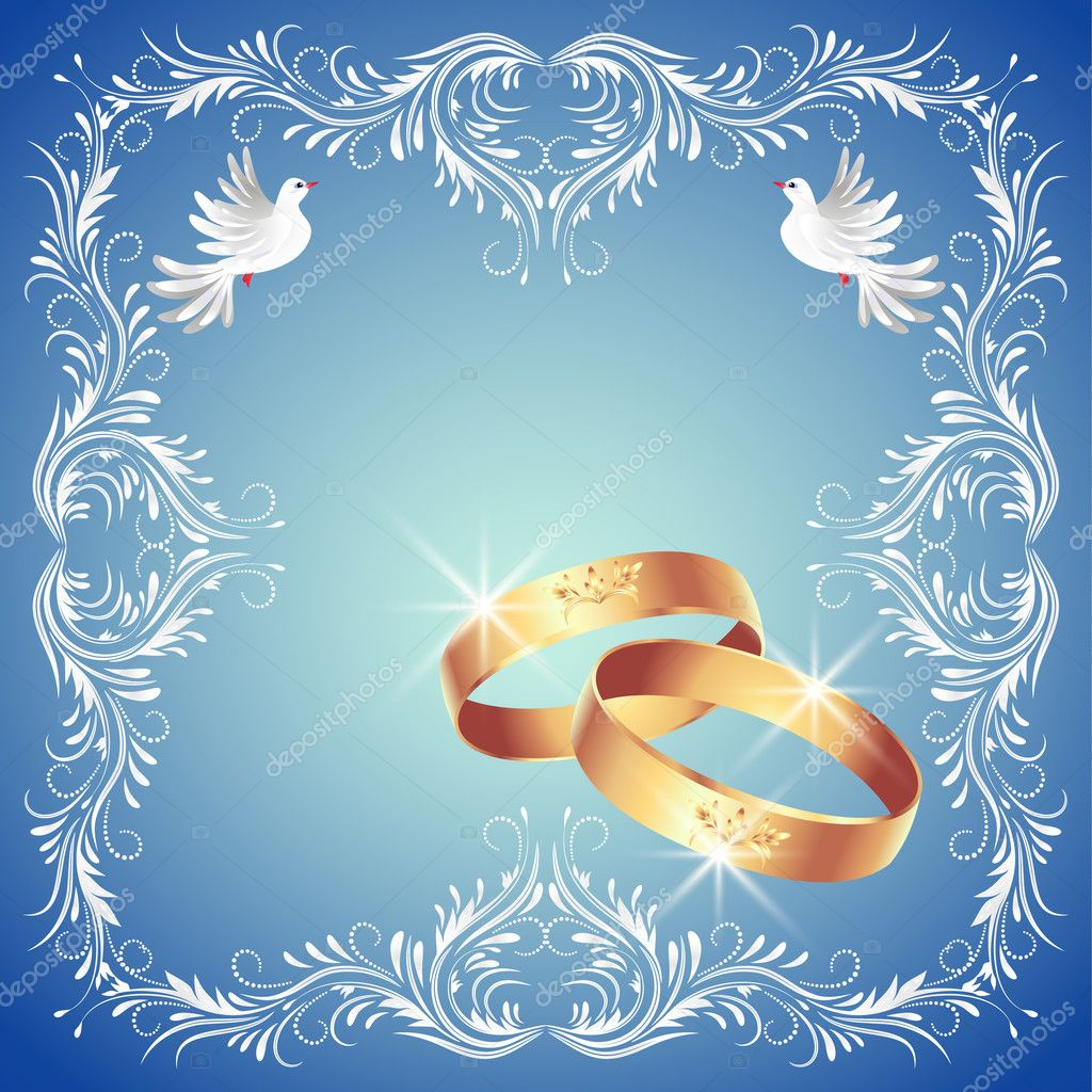 Card with wedding rings and two doves in ornament frame  Stock Vector #10097169