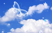 Clouds and butterfly — Stock Photo