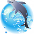 Dolphin and blue waves - Stock Vector