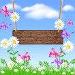 Signboard on the meadow with daisies - Stock Vector