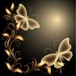 Butterflies and golden ornament - Stok Vektr