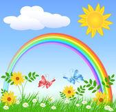 Flores con hierba verde y arco iris — Vector de stock