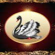 Royalty-Free Stock Vector Image: Elegant black swan with golden ornament
