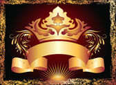 Luxurious copper ornament and crown — Vector de stock