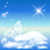 Butterfly in the sky — Stock Vector