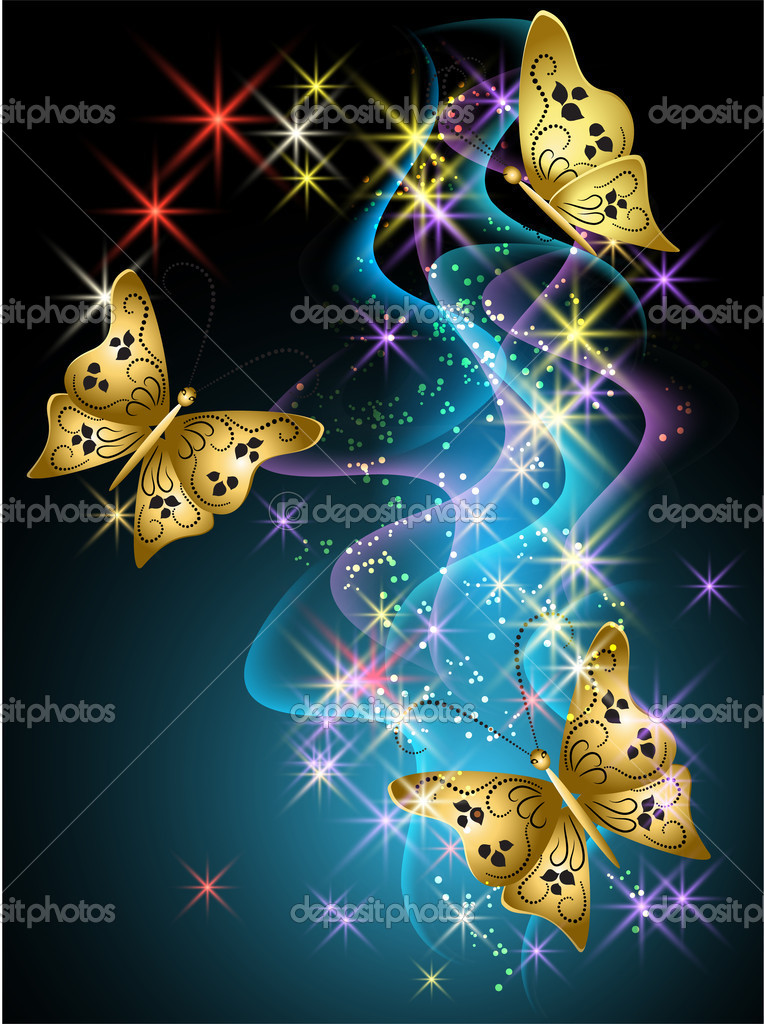 Glowing background with smoke, stars and butterfly — Grafika wektorowa #10629287