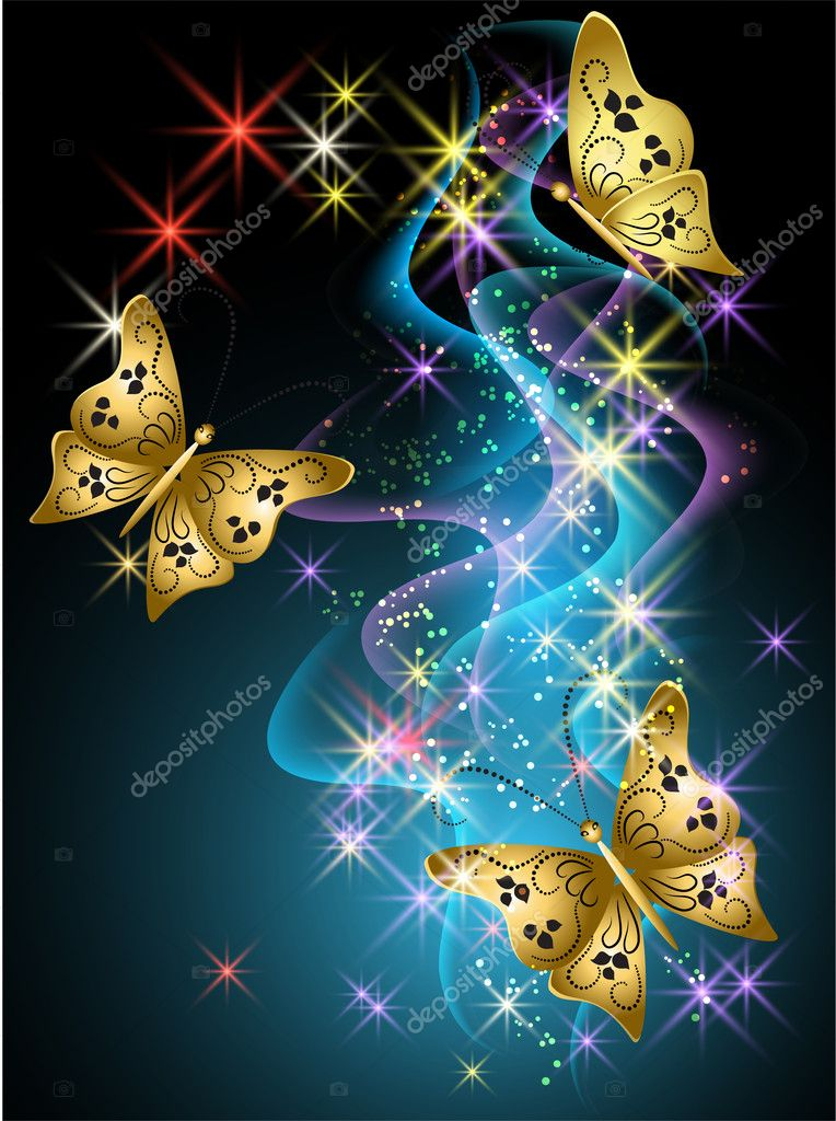 Glowing background with smoke, stars and butterfly — Stock Vector #10629287