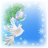 Christmas card with pigeon — Vector de stock