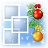 Page layout photo frame with Christmas balls — Stockvector