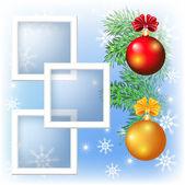Seite-layout-foto-rahmen mit weihnachtskugel — Stockvektor