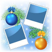 Page layout photo frame with Christmas balls — Vecteur