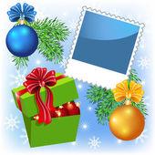 фото рамка с подарочной коробке и рождественские шары — Cтоковый вектор